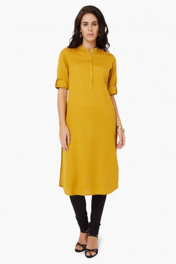 W Solid Band Collar Kurta