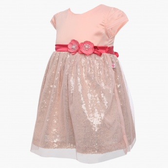 PEPPERMINT Sequinned Net Overlay Party Dress