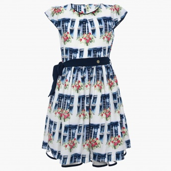 PEPPERMINT Floral Print Belted Dress