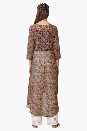GLOBAL DESI Printed Double Front Slit Kurta