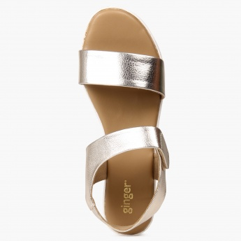GINGER Metallic Strap Flatform Sandals