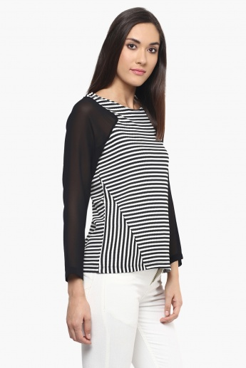 109F Striped Full Sleeves Top