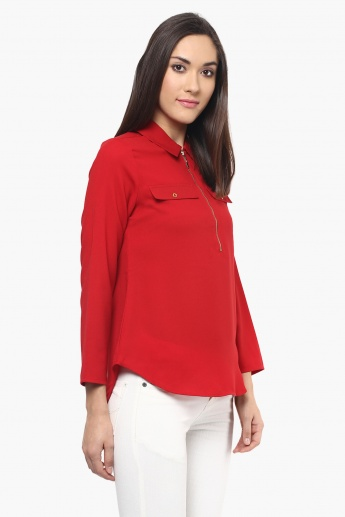 109F Solid Shirt Collar Blouse