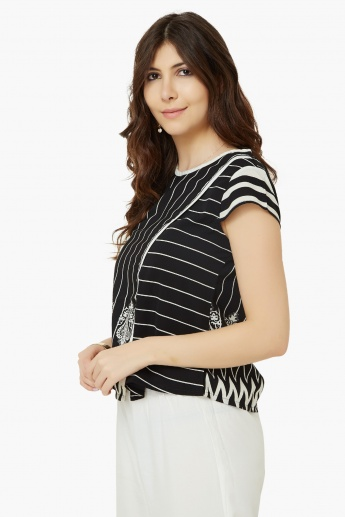 FUSION BEATS Striped Round Neck Top