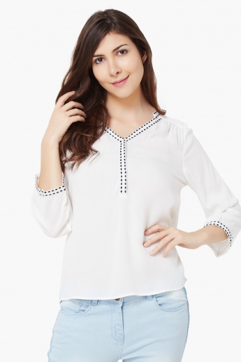VERO MODA Embroidered 3/4th Sleeves Blouse