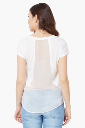 VERO MODA French Talk Round Neck Top