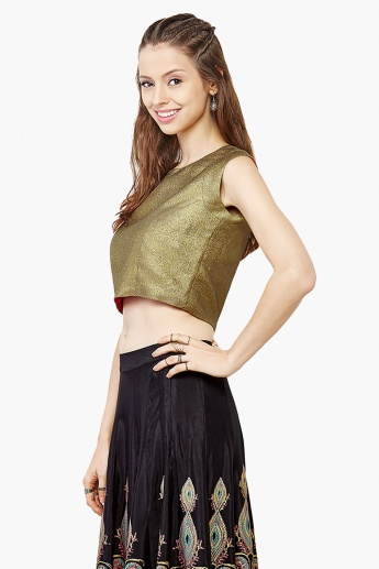 GLOBAL DESI Sleeveless Metallic Crop Top