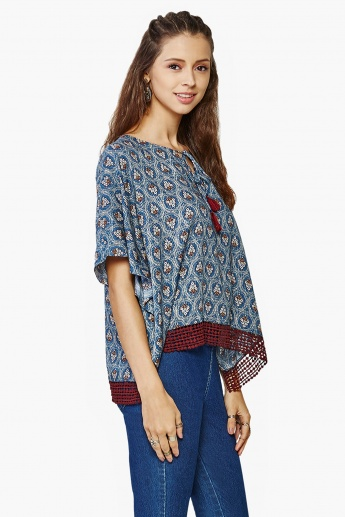 GLOBAL DESI Printed Lace Trim Blouse