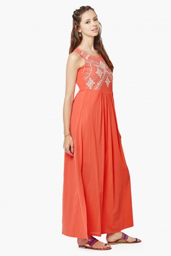 GLOBAL DESI Embroidered Maxi Dress