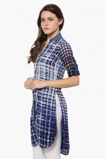 BIBA Houndstooth Mesh Roll-Up Sleeves Kurta