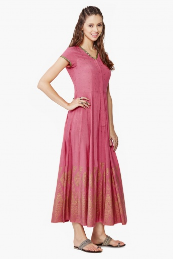 GLOBAL DESI Anarkali Kurta & Straight Pants Set