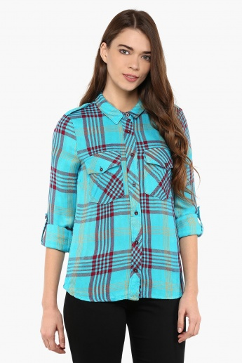 VERO MODA Plaid Mesh Shirt
