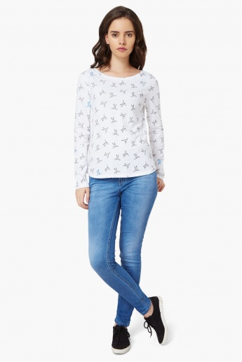 UNITED COLORS OF BENETTON Origami Bird Print Top
