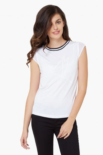 UNITED COLORS OF BENETTON Cap Sleeves Ribbed Neck Top