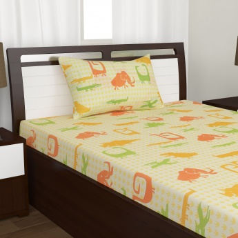 Kids City Goes Wild Cotton Single Bedsheet Set-2 Pcs.