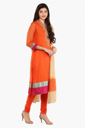 BIBA Embroidered Kurta Churidar Dupatta Set