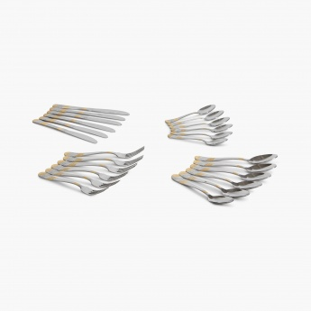 Glister Fiona Gold Cutlery Set With Stand - Set Of 24 Pcs.