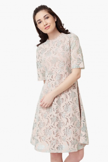 b94c31010c CODE Lace Overlay Shift Dress