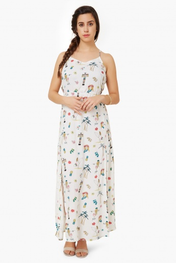 69a0a3c58b GINGER Printed Double Front Slit Maxi Dress