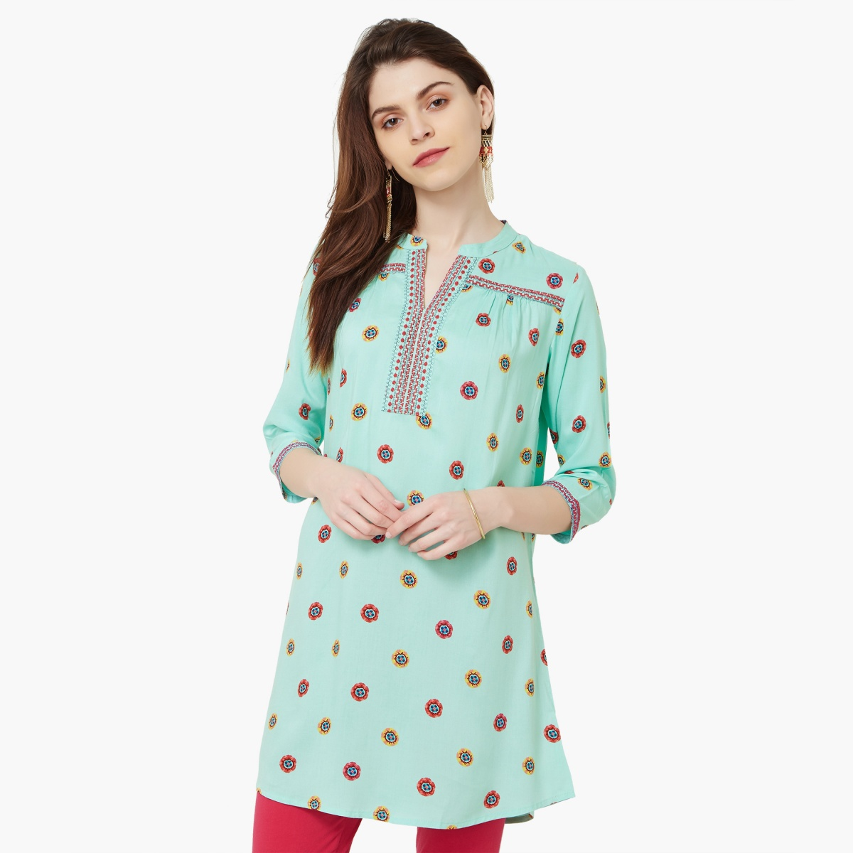 MELANGE Printed Band Collar Kurti thumbnail