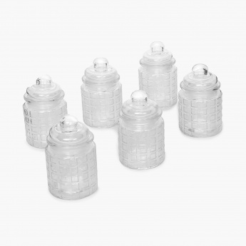 Mimosa Storage Glass Jars- Set of 6 Pcs.