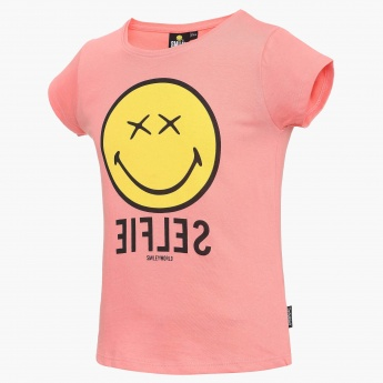 SMILEY Selfie Imprint Round Neck Top