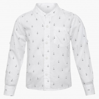 JUNIORS Anchor Print Full Sleeves Shirt