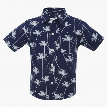 JUNIORS Palm Print Half Sleeves Shirt