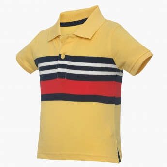 JUNIORS Stripe Bar Polo Neck Tee