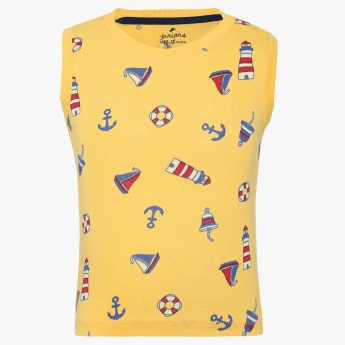 JUNIORS Nautical Print Sleeveless T-Shirt
