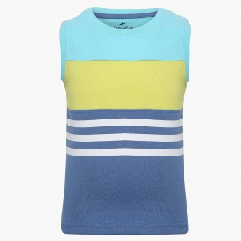 JUNIORS Striped Sleeveless T-Shirt
