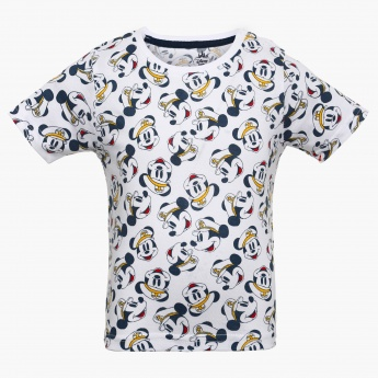 JUNIORS Mickey Mouse Print Crew Neck T-Shirt