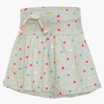 JUNIORS Dot Print Skater Skirt