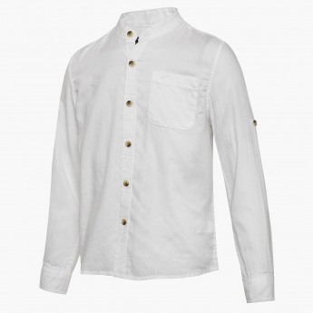 FAME FOREVER Full Sleeves Band Collar Shirt