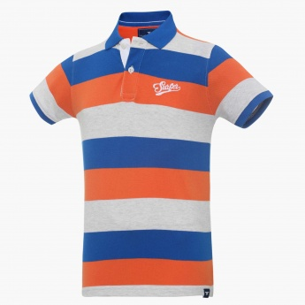 FAME FOREVER Striped Polo Neck T-Shirt