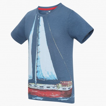 FAME FOREVER Nautical Print Crew Neck T-Shirt