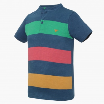 FAME FOREVER Striped Henley Collar T-Shirt