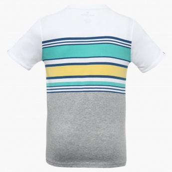 FAME FOREVER Striped Henley Neck T-Shirt