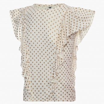FAME FOREVER Polka Dot Frilly Top