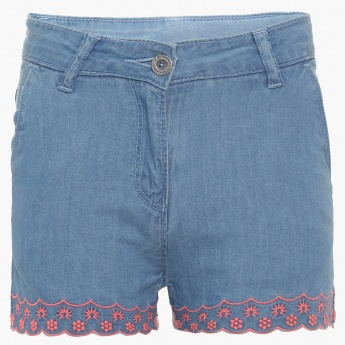 FAME FOREVER Embroidered Hem Denim Shorts