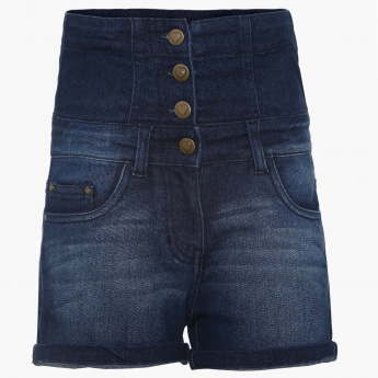 FAME FOREVER High-Waist Denim Shorts