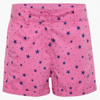 FAME FOREVER Star Print Pocketed Shorts