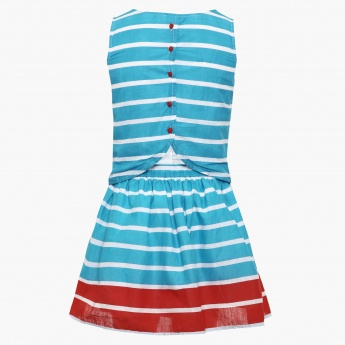 FAME FOREVER Striped Sleeveless Dress