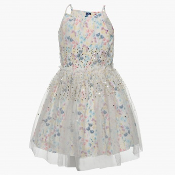 FAME FOREVER Sequined Floral Flounce Dress
