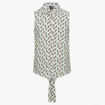 FAME FOREVER Pineapple Print Button Up Knotted Shirt
