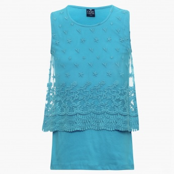 FAME FOREVER Embroidered Lacy Sleeveless Top