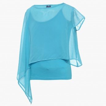 FAME FOREVER Embellished Asymmetric Sleeves Top