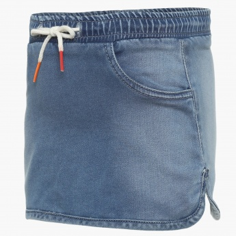 JUNIORS Drawstring Denim Skirt