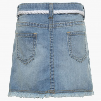 JUNIORS Frayed Hem Denim Skirt
