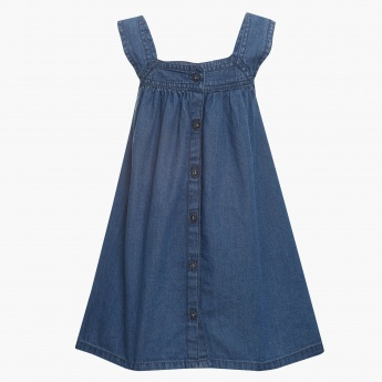 JUNIORS Bow Up Button Down Tent Dress